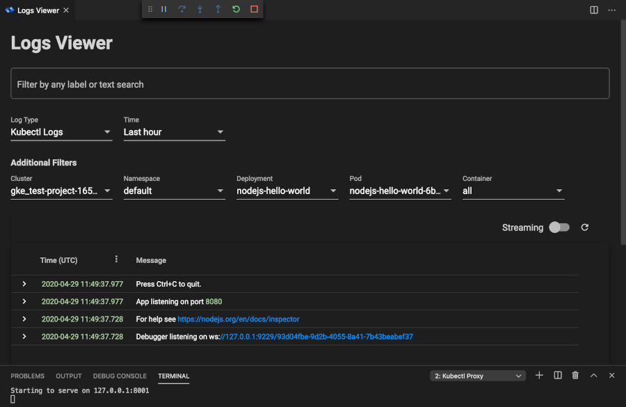 Viewing logs by setting the deployment field within the Log Viewer search box to 'nodejs-hello-world'.