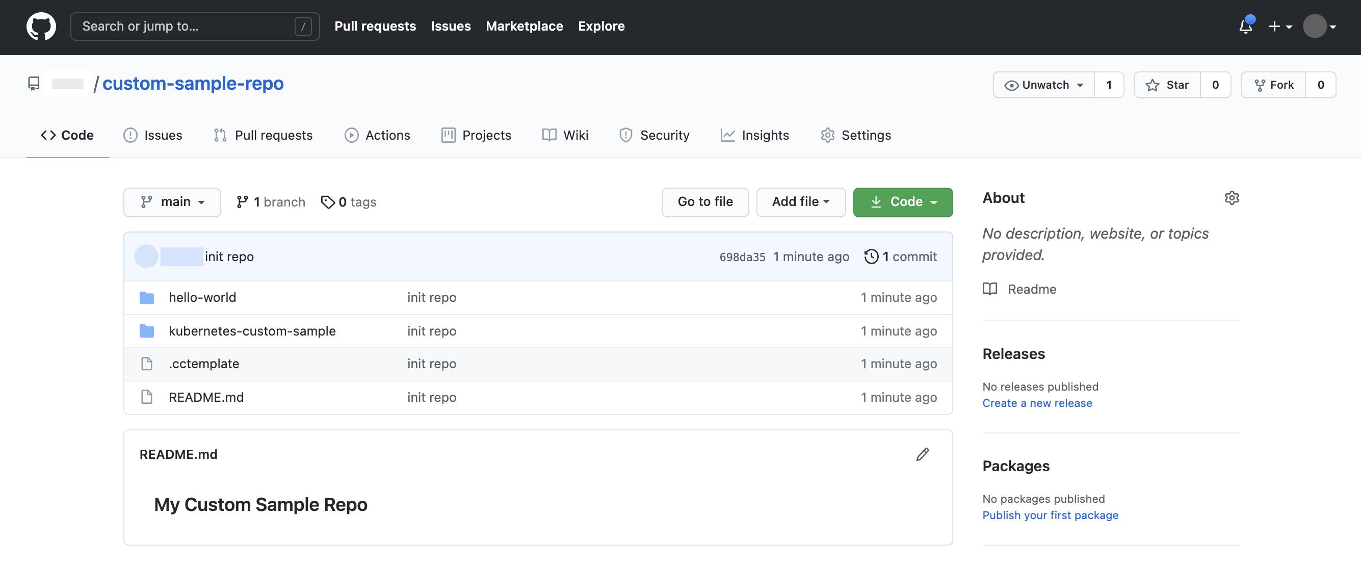 'hello-world' 및 'kubernetes-custom-sample'이라는 두 가지 기본 샘플 디렉터리가 있는 'custom-sample-repo'