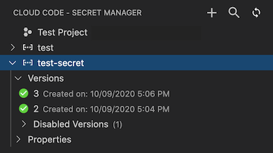 Secret Manager in Cloud Code open with two secrets listed