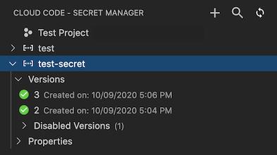 Cloud Code의 Secret Manager에 두 개의 보안 비밀이 표시됨