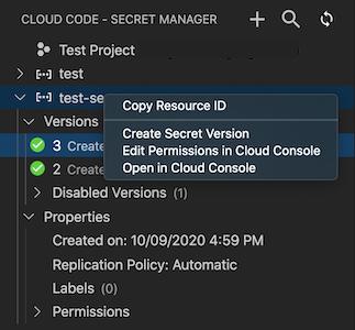 Secret Manager에서 보안 비밀을 마우스 오른쪽 버튼으로 클릭하여 Cloud Console에서 열기 옵션을 표시합니다. 속성 드롭다운도 Secret Manager 보기에 표시됩니다.