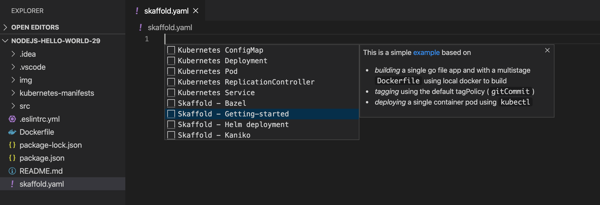 Create Skaffold configuration manually intellisense