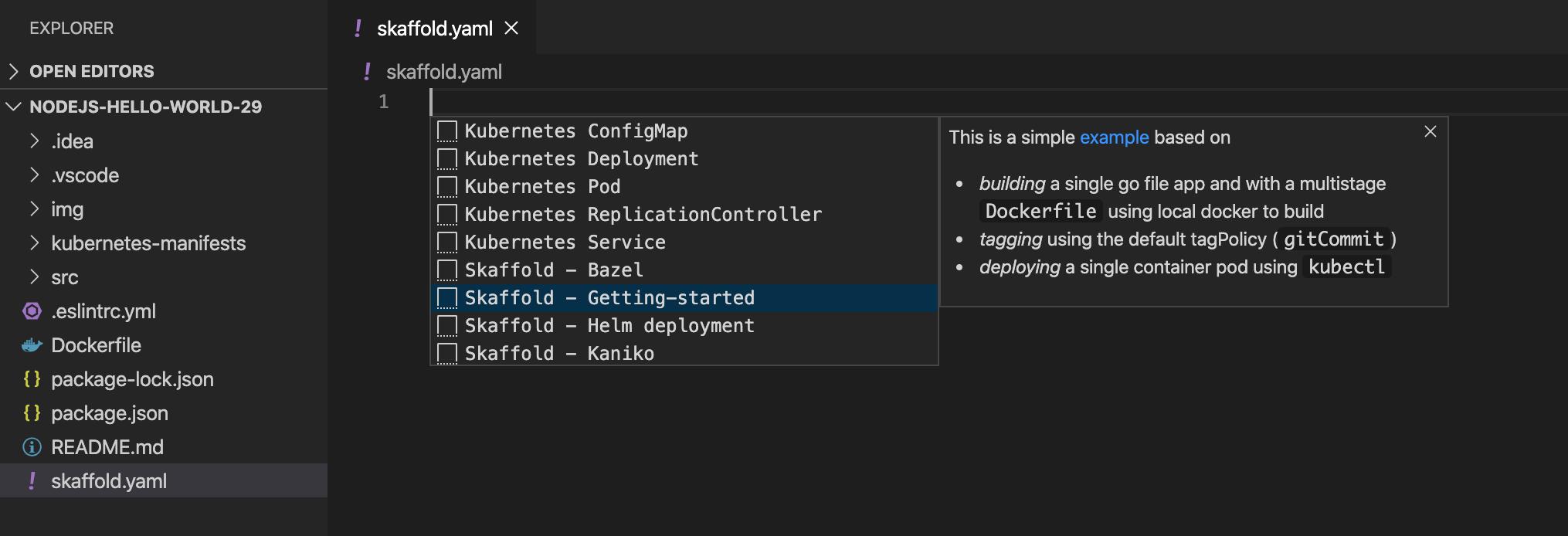 Crea la configuración de Skaffold de forma manual de Intellisense