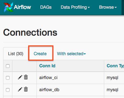 """Captura de tela do Airflow. Clique na guia """"Criar""""."""