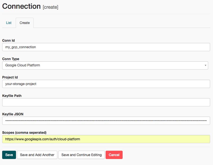 Airflow screenshot. Click the Create tab.