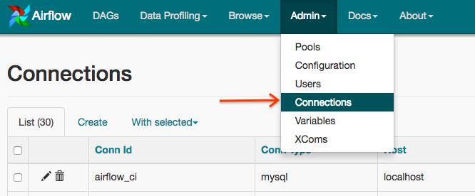 Captura de tela do Airflow. Abra o menu Administrador das conexões.