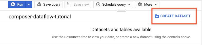cliquez sur le bouton CREATE DATASET (Créer un ensemble de données) à droite de la fenêtre.