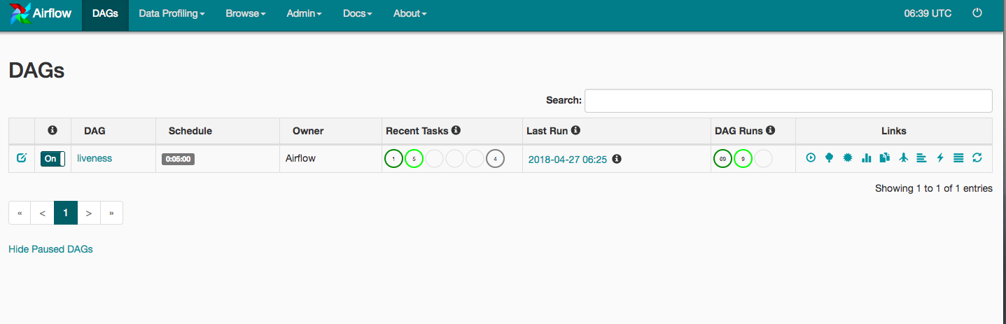Interfaz web de Airflow