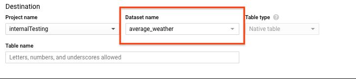 average_weather データセットのデータセット オプションを選択する