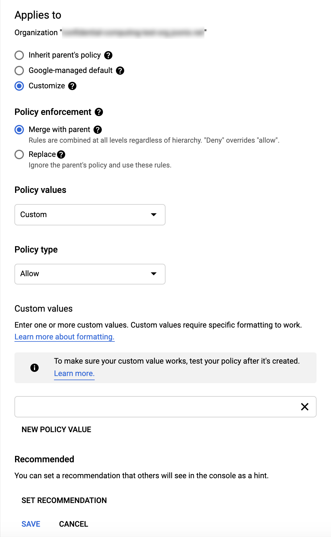 Screen shot of Policy details screen before procedure