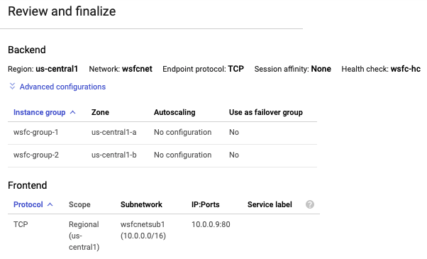 Cloud Console shows final settings for internal load balancing.