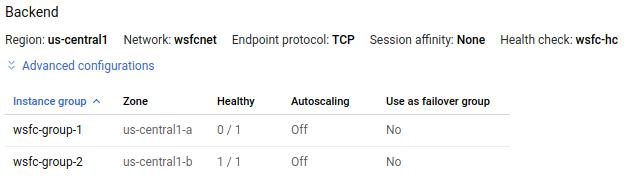 负载平衡器状态显示 1 个运行状况良好的实例(共 2 个)。