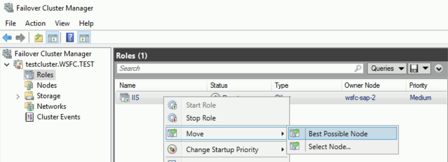 Owner Node field shown in failover cluster manager.