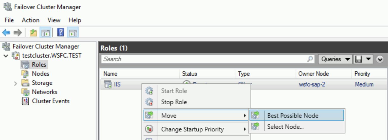 Campo do node do proprietário mostrado no gerenciador de cluster de failover.