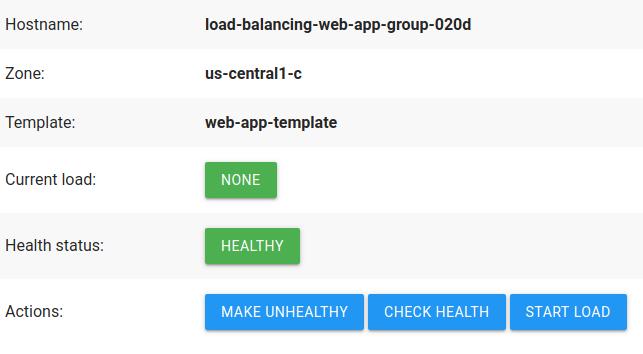Aplicativo de demonstração da Web, que lista informações sobre a instância e tem botões de ação.
