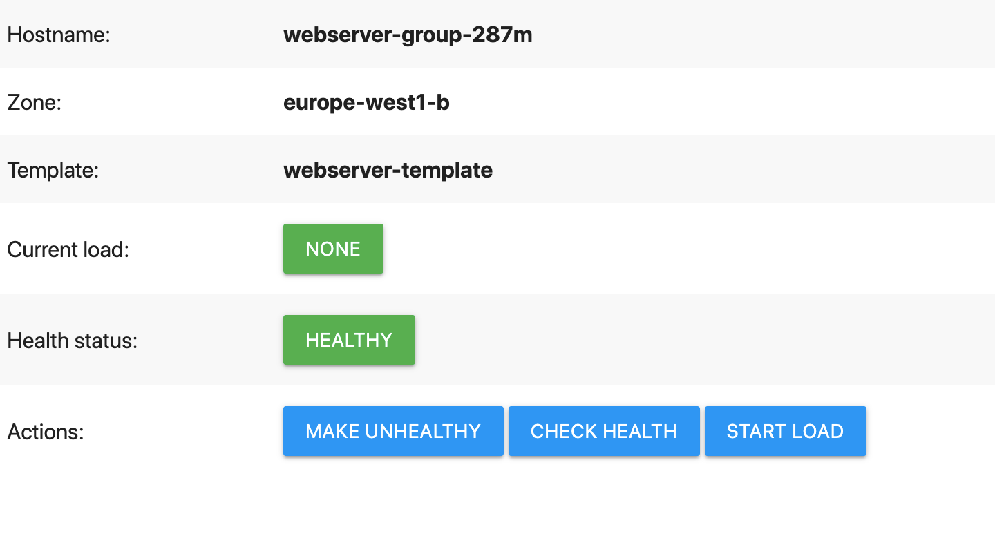 Demo web page showing green status buttons and blue action buttons.