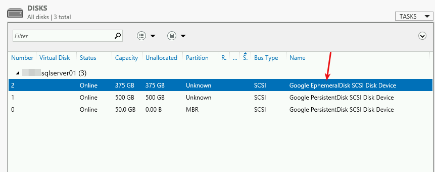 Google EphemeralDisk エントリを検索する