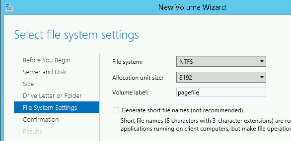 New Volume Wizard