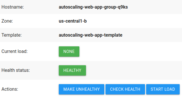 Captura de pantalla de la aplicación web de demostración, que muestra información sobre la instancia y tiene botones de acción.