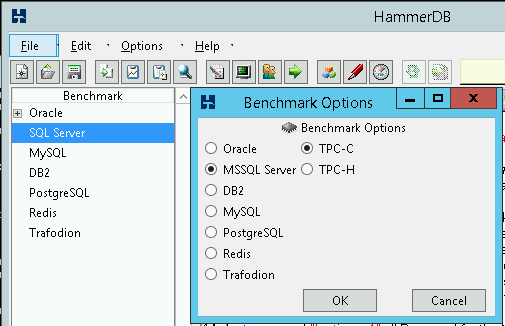 Setting TPC-C benchmark options