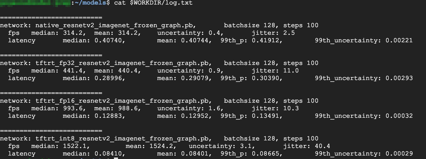 Captura de tela dos resultados de desempenho
