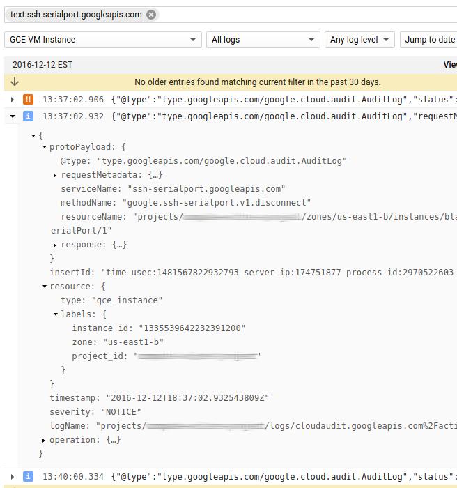 Captura de tela de registros de auditoria do console serial