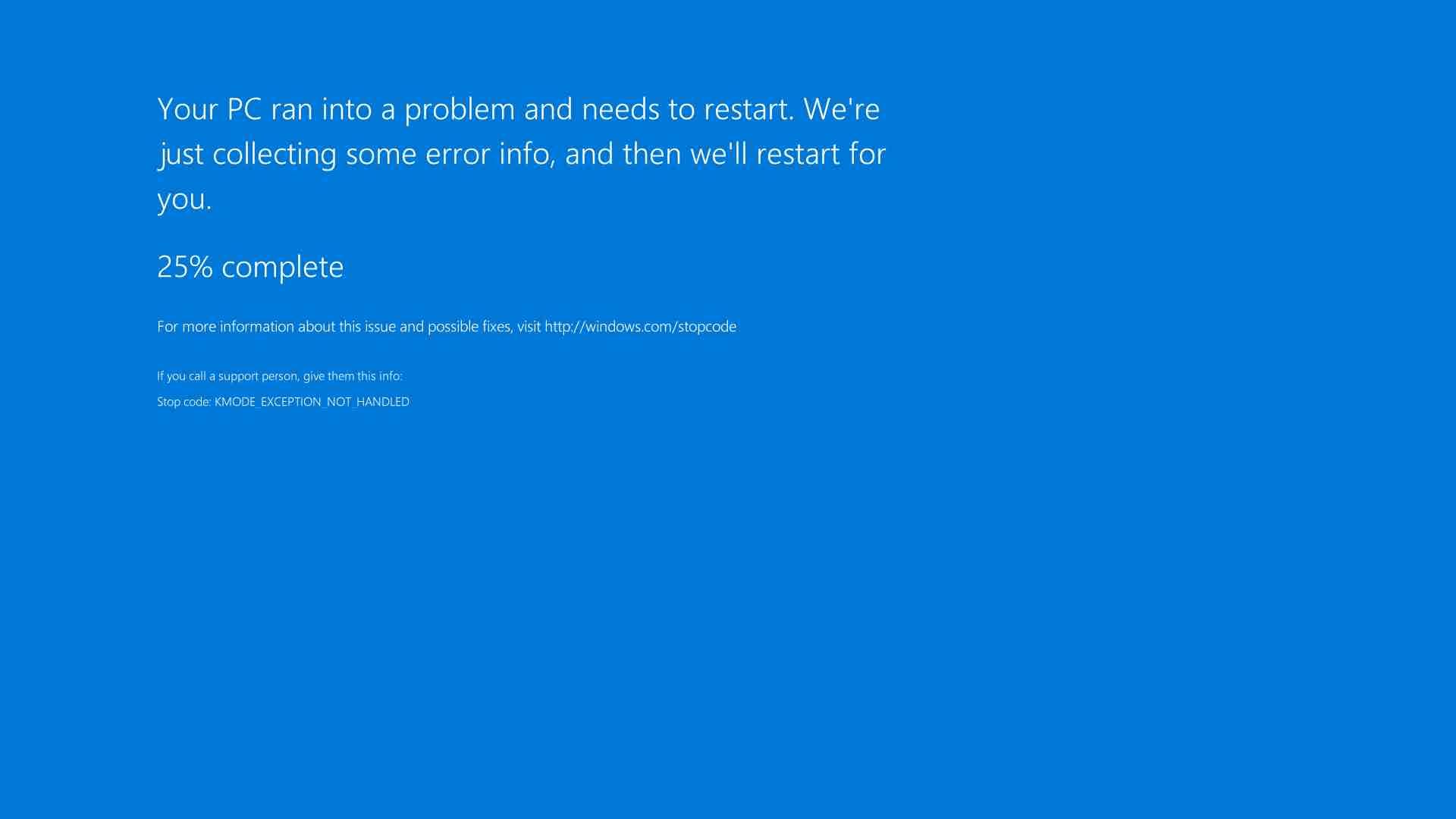 Blue screen from Windows Server 2016 Datacenter.