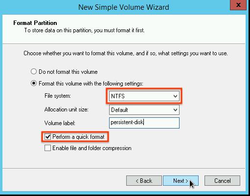 Selección del tipo de formato de partición en el Asistente de volumen simple nuevo (New Simple Volume Wizard).