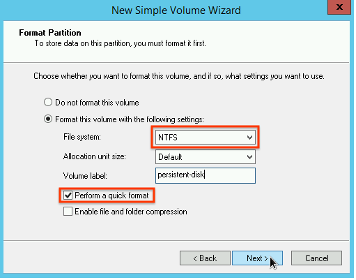 Selecting the partition format type in the New Simple Volume Wizard.