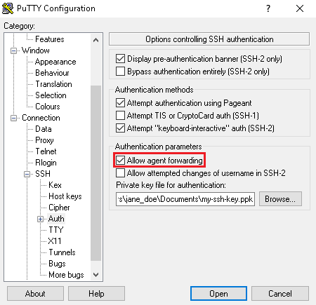 接続しているインスタンスのエージェント転送を許可。