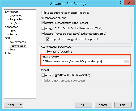 Setting the private key file to my-ssh-key.ppk in the Advanced Site Settings dialog.