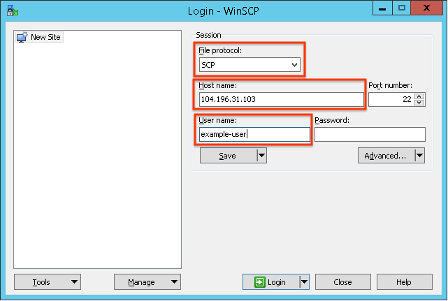 Setting the file protocol to SCP, the host name to 104.196.31.103, and the user name to example-user.