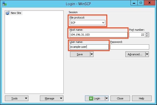 将文件协议设置为 SCP,将主机名称设置为 104.196.31.103,将用户名设置为 example-user。