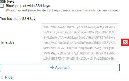 Screenshot of PuTTYgen public key
