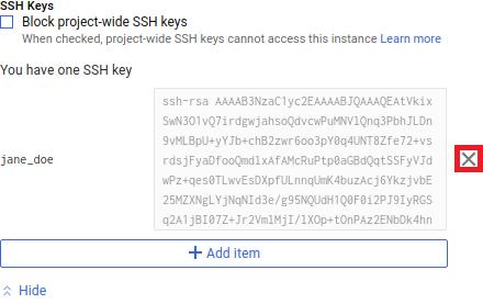 Captura de tela da chave pública PuTTYgen