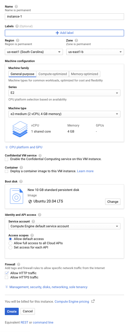 VM instance creation window with the required options set.