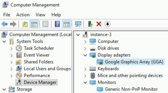 Fenêtre de gestion de l'ordinateur Windows dans laquelle le pilote Google GraphicsArray apparaît en tant que carte graphique installée.