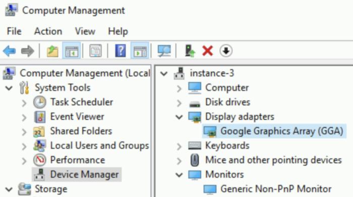 """Windows 的""""计算机管理""""窗口,显示将 Google Graphics Array 作为已安装显示适配器列出的画面。"""
