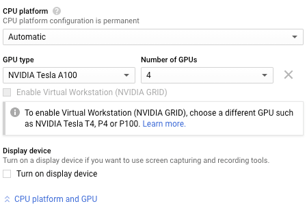 The GPU configuration section.