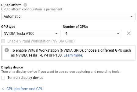 Section sur la configuration du GPU.