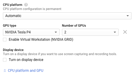 The GPU configuration section