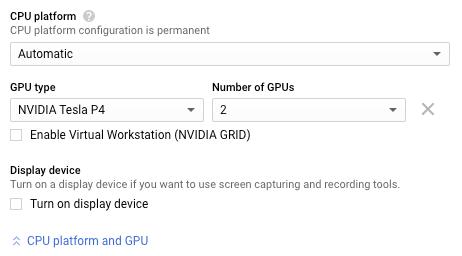 Sección de configuración de GPU.