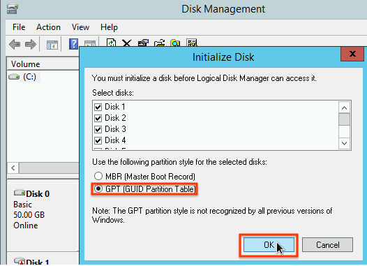 Selecting a partition scheme in the disk initialization window.