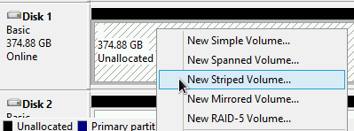 Creating a new striped volume from the attached disk.
