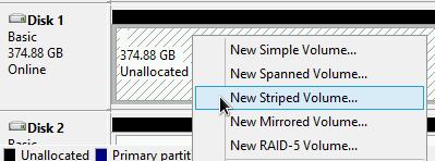 Création d'un volume agrégé par bandes à partir du disque associé.