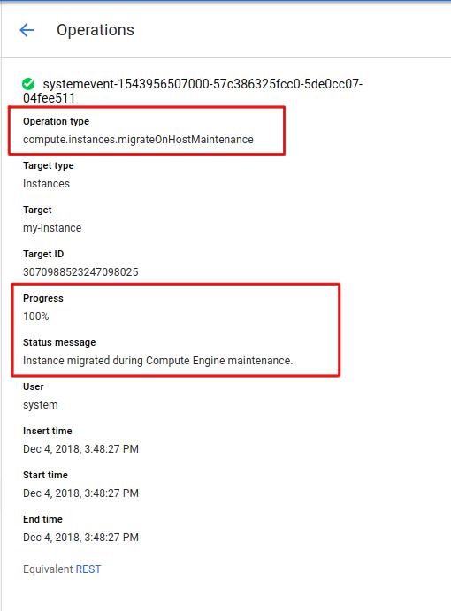 Screenshot of the live migration details