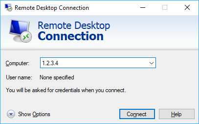 Screenshot of the mstsc connection window