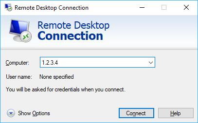 Captura de tela da janela de conexão mstsc