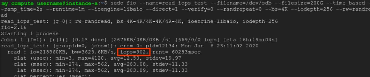 Instance IOPS en lecture à plusieurs disques.
