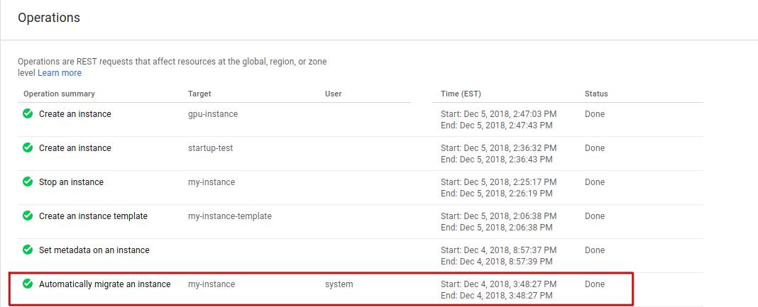 Capture d'écran de la page des opérations montrant la migration à chaud